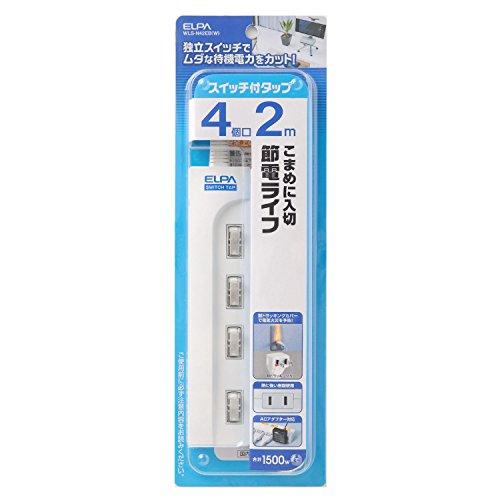 ELPA エルパ スイッチ付タップ 4個口 2m WLS-N42EB(W)