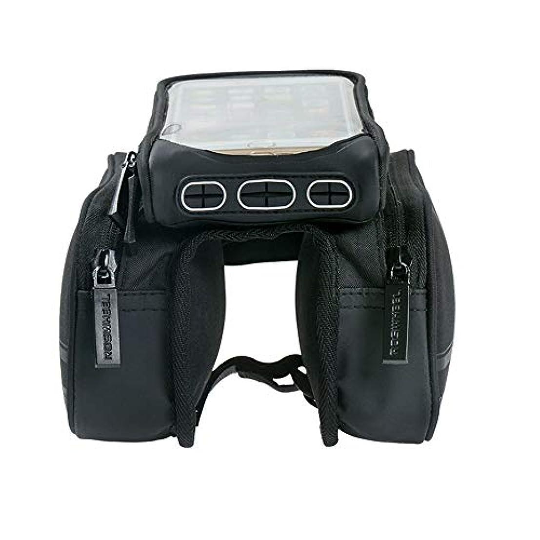 メモレタス再開サイクリングフレームバッグ 屋外MTBのロードバイクのためのバイク袋の携帯電話のタッチ画面のホールダーのバイク袋 電話収納バッグ (Color : Black, Size : 18.5*11.5*4cm)