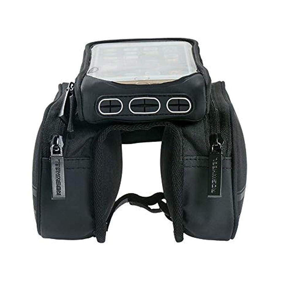大砲印象派革命的自転車フロントフレームバッグ 屋外MTBのロードバイクのための携帯電話のタッチスクリーンのホールダーのバイク袋 マウンテンバイクアウトドアアクティビティサイクリングパック用アクセサリー (Color : Black, Size : 18.5*11.5*4cm)