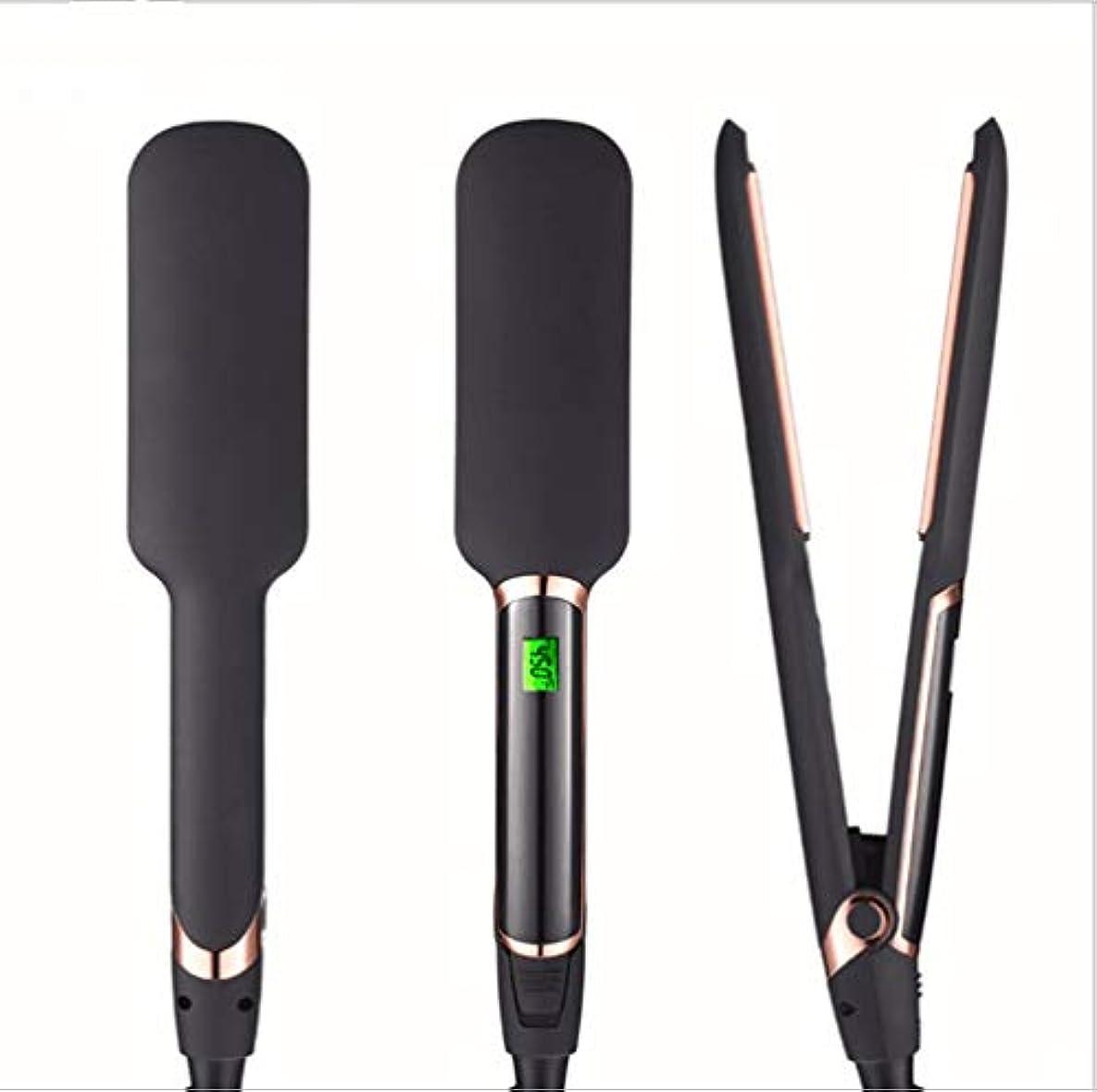 伝統赤外線バングユニセックス2 in 1ストレートヘアアイロン電気クリンパートルマリンセラミックバレル用調整可能なLCD温度とビーチークリンパ髪アイロン