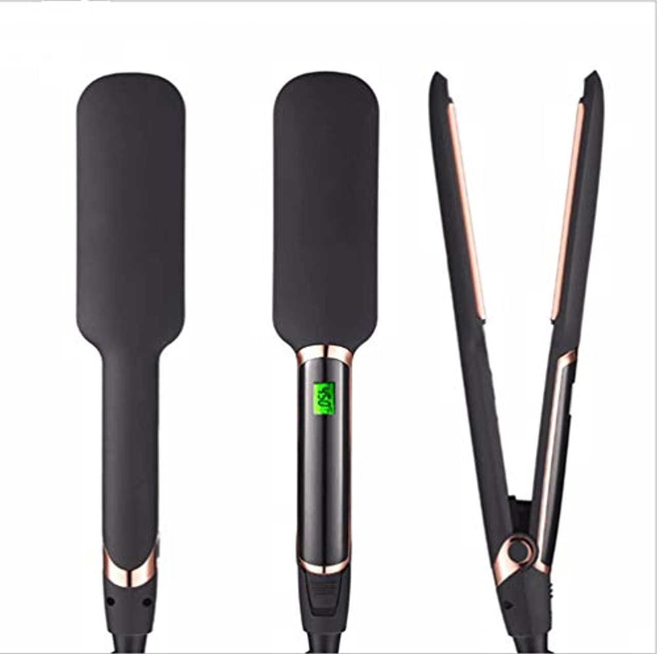 物足りないスティックのぞき見ユニセックス2 in 1ストレートヘアアイロン電気クリンパートルマリンセラミックバレル用調整可能なLCD温度とビーチークリンパ髪アイロン