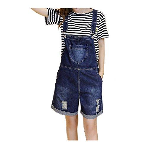 d5479d3c98abbf Fashion maker(F&M)デニム オーバーオール サロペット ショート丈 レディース オールインワン パンツ ジーンズ 短パン ショート