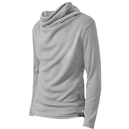 ONE LIMITATION(ワン リミテーション) タートルネック 長袖 ハイネック Tシャツ カットソー ロンT メンズ TN001 (ライトグレー,M)