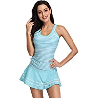 MiYang Women's Striped Tankini Set Two Piece Padded Swimsuits with Swim Skirt