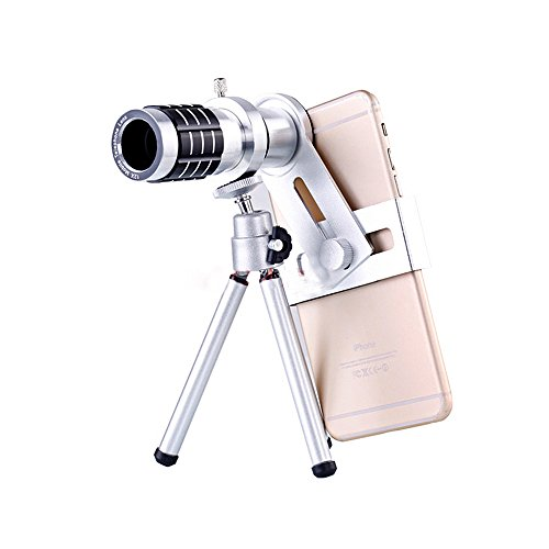 Ceyo スマホ 望遠 レンズ 携帯レンズ 12倍 望遠 単眼鏡 三脚 スマホ カメラ ズーム 望遠鏡 HDレンズ 光学 小型 軽量 フリーサイズ 各種スマホ対応 for iPhone Android 運動会 コンサート等に最適