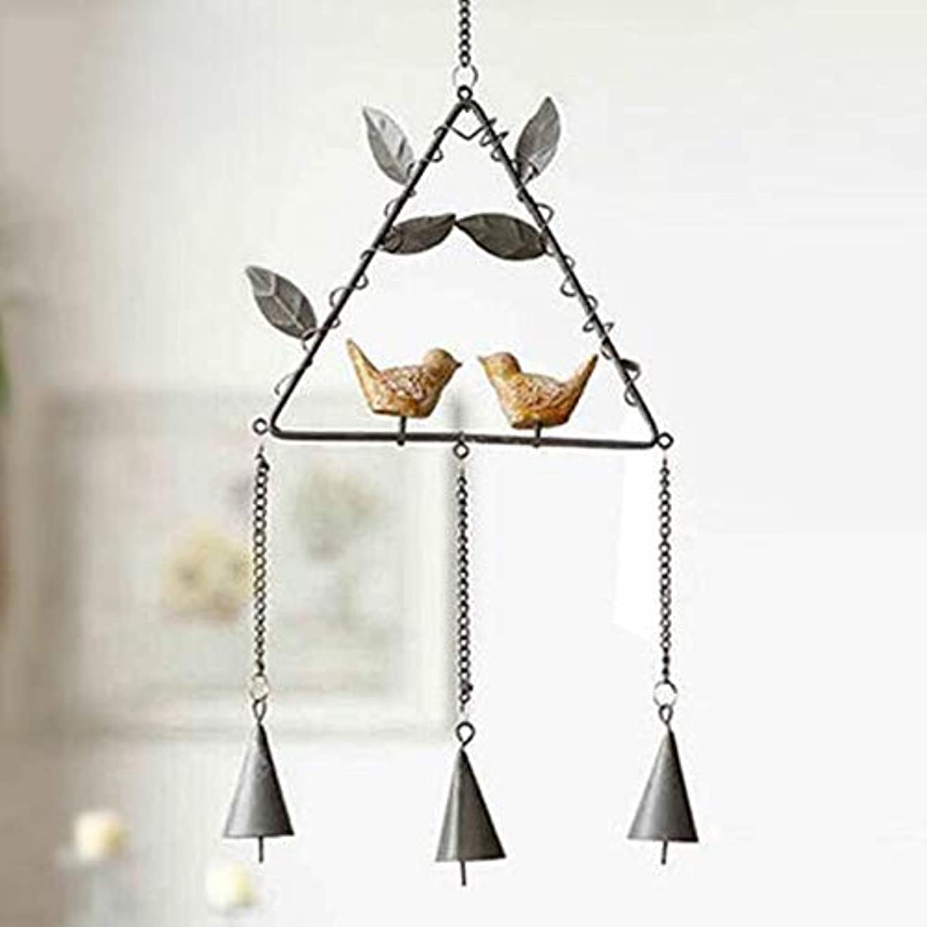刃料理をする大使Yougou01 風チャイム、アイアンクリエイティブ手作りの鳥風チャイム、グレー、全身について56センチ 、創造的な装飾 (Color : Triangle Gray)