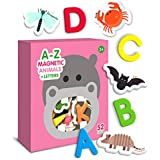 Curious Columbus Magnetic Animals and Letters Set of 52. Includes 26 Foam Animal Picture Magnets Plus 26 Uppercase Alphabet Magnets from A-Z