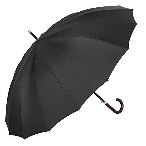 PLEMO 長傘 16本骨長傘 大きな傘 新強化グラスファイバー傘骨 自動開けステッキ傘 紳士傘 耐風傘 撥水加工 ブラック 120センチ