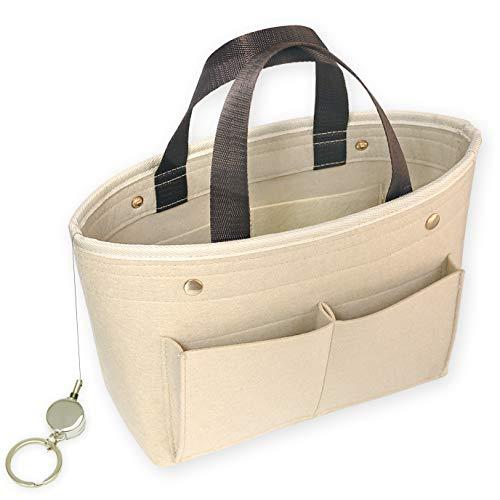 PEYNE バッグインバッグ フェルト レディース インナーバッグ - A4 収納 バッグ, Felt Bag In Bag, フェルト素材, 【ベージュ - L】 旅行用 バッグ マルチ収納 ポーチ, バッグ, おしゃれ かわいい バッグの