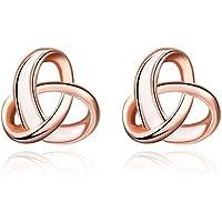 Small Celtic Knot Rose Gold Earrings Women's Rose Gold Plated Love Knot Stud Earrings Great Gift