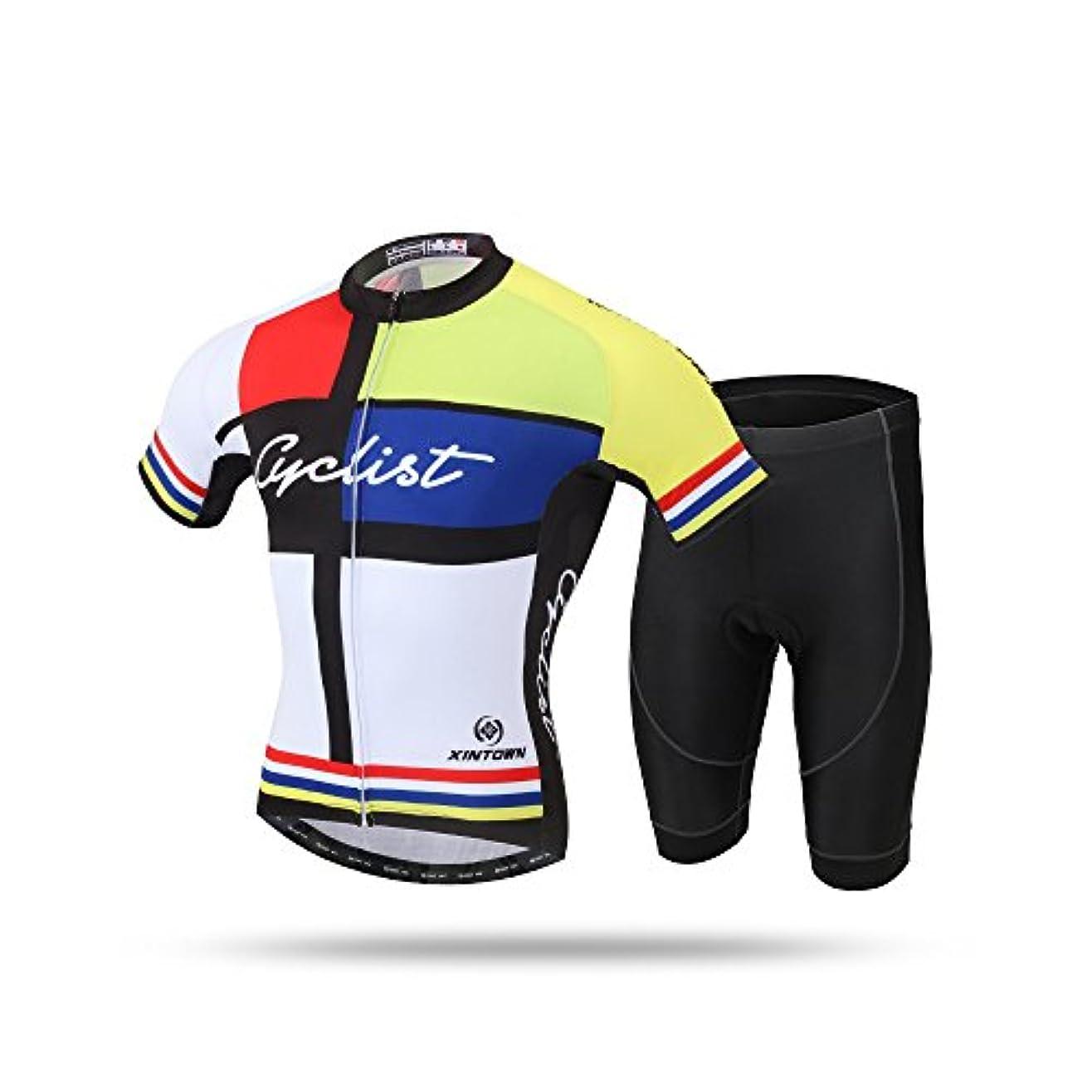 廃止潤滑する検体Tenflow サイクルジャージ メンズサイクリングウェア 半袖 上下セット 自転車ウェア メンズ自転車服 サイクルウェア バイクジャージ スポーツウェアxhyd-dk07-7(L イエロー)