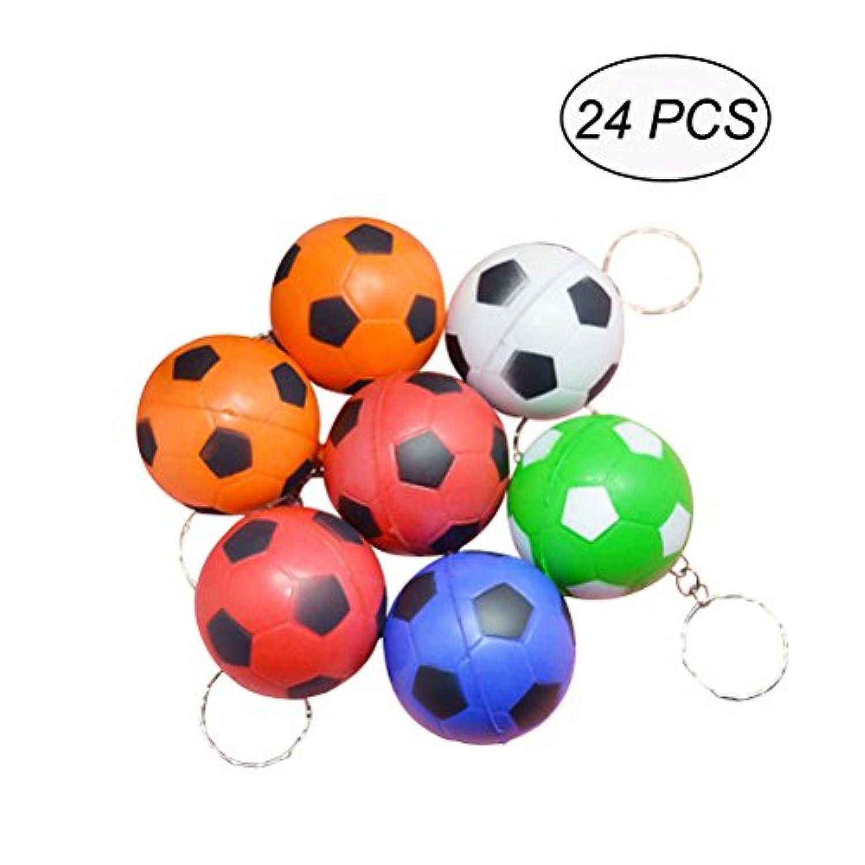 TOYMYTOY ボール キーチェーン PU製 サッカーボール 男性 子供 プレゼント 24個(ランダムカラー)