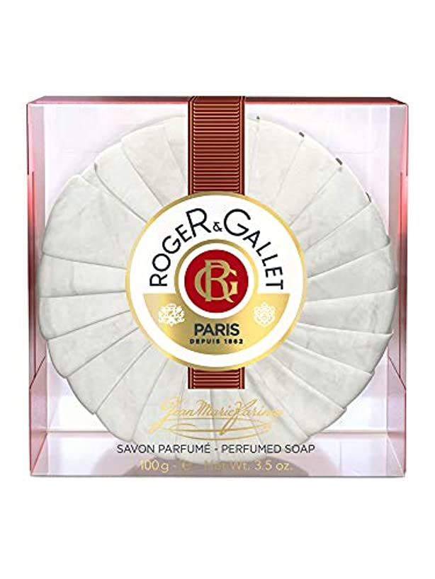 酸円形可愛いロジェガレ ジャンマリファリナ パフュームソープ (香水石鹸) 100g ROGER&GALLET JEAN MARIE FARINA SOAP(プラスチック簡易ケース入り) [並行輸入品]