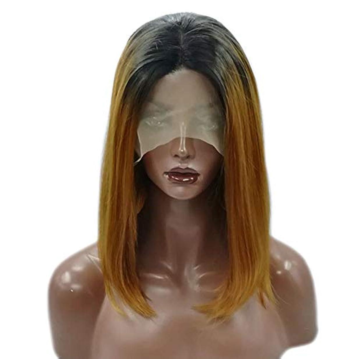 疑問を超えて東高度なYOUQIU 女子ショートストレートウィッグ肩の長さ黒合成ボブヘアウィッグ耐熱フル?ヘアウィッグウィッグ (色 : Photo Color)