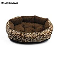 FidgetGear カラフルなヒョウ柄ペットの猫と犬のベッドの家柔らかい暖かい 新しい! 褐色