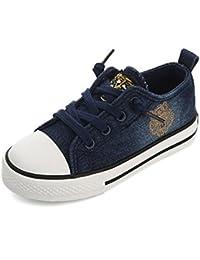 [XINXIKEJI]子供靴 スニーカー 女の子 男の子 デッキシューズ 内寸17-23cm レースアップ 履きやすい 防滑 通気 軽量 心地良い おしゃれ 学校 アウトドア 運動靴 キッズシューズ 紺色/青