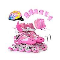 大人 贈り物 ジュニア インラインスケート,サイズ調整可能 男性女の子屋外 フィットネスタイプ向け Inline Skate ,初心者 ジュニア屋内男の子 ローラースケート (Color : Pink, Size : L-EU(34-38))