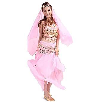 【ノーブランド品】 ベリーダンス 衣装 4点セット (ブラトップ ヒップスカーフ ヒップスカート ベール) ピンク