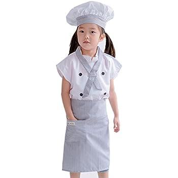 77fb2864cf102 cnstone ハロウイン 衣装 子供 キッズコスチューム 変身 女の子 コック服4点セット コックコート+帽子+首リボン+エプロン (身長105- 120cm