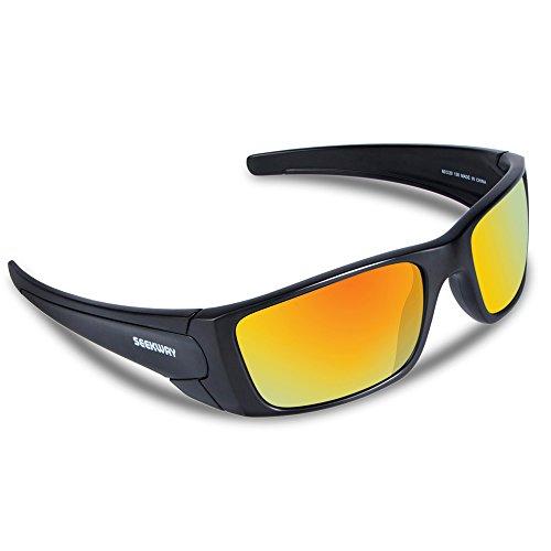 SEEKWAY スポーツサングラス 偏光レンズ UV400 TR90フレーム サイクリング ランニング ドライブ 釣り 偏光サングラス SWC082 (ブラック&レッド)