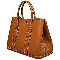 Esyuel Women's Genuine Leather Garden Tote Bag Top Handle Handbags(36CM)