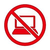 パソコン使用禁止マークのカッティングステッカー・シール 光沢タイプ・耐水・屋外耐候3~4年【クリックポストにて発送】 (赤, 150)
