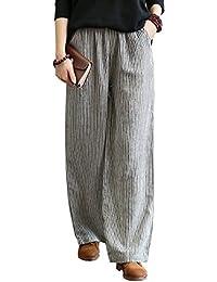 レディース 100%本物リネン パンツ キュロットワイド パンツ ゆったり 長ズボン 上質 コーディネート自由自在シンプル ズボン ロング 無地 ポケット付き