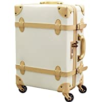 FIELDOOR TSAロック搭載 ヴィンテージ風 トラベルキャリーケース スーツケース Sサイズ/Mサイズ / Lサイズ 四輪 超軽量 アンティーク調内装