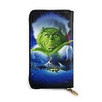 Snow Grinch Christmas 成人長財布 小銭入れ 多機能携帯電話 カード コインケース 高級本革 防水 男女兼用 大容量 収納袋