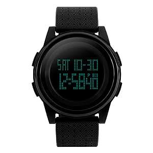 R-timer(アールタイマー) 防水腕時計 メンズ ledウォッチ デジタル時計 ストップウォッチ アラーム機能 12/24時刻切替え 大文字盤 日本語取扱説明書付き (ブラック2)