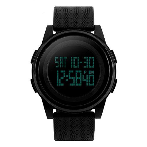 R-timer(アールタイマー) 防水腕時計 メンズ ledウォッチ デジタル時計 ストップウォッチ アラーム機能 12/24時刻切替え 大文字盤 クリスマスプレゼント (ブラック)