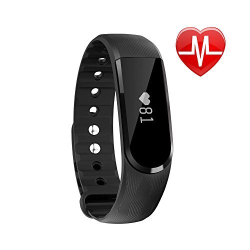 LETSCOM Fitness Tracker Watch, Bluetooth 4.0 Heart Rate Monitor Bracelet, IP67 Waterproof Touch Screen Smart Bands with Activity Tracker for iPhone Android Smartphone Black (ブラック)