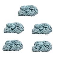 5かせスーパーソフト分厚い糸かさばる放浪糸の指編み、編み物フェルト、ラグ毛布と工芸品を作る,Blue