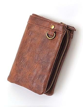 (リピード) REPIDO 財布 サイフ 二つ折り メンズ PU レザー ヴィンテージ アンティーク コインケース 小銭入れ パスケース 名刺入れ 2way ブラウン Free