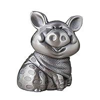 貯金箱 クリエイティブスマイル豚貯金箱メタルかわいい豚マン貯金箱子供のギフトの干支の工芸家具・装飾オーナメント (Color : Silver, Size : 9x7.5x11.2cm)