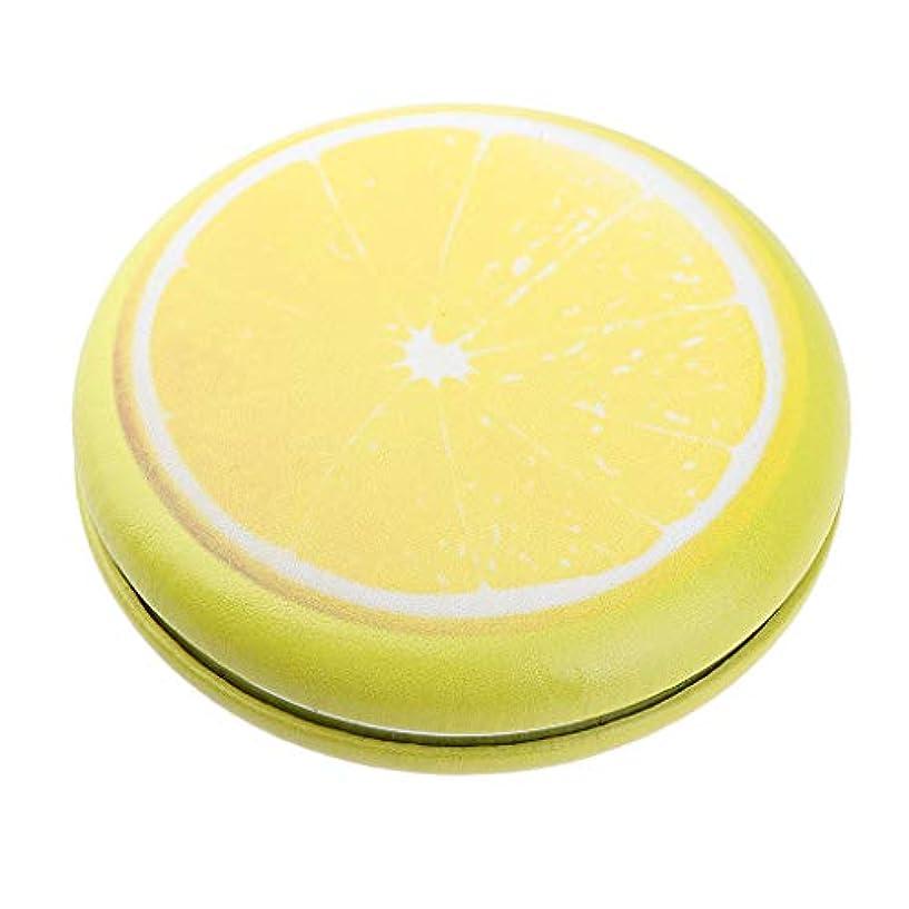 中絶リビングルーム宇宙の折りたたみ化粧鏡 携帯用 ポケットミラー 美容鏡 3仕様選べ - イエロー - レモン