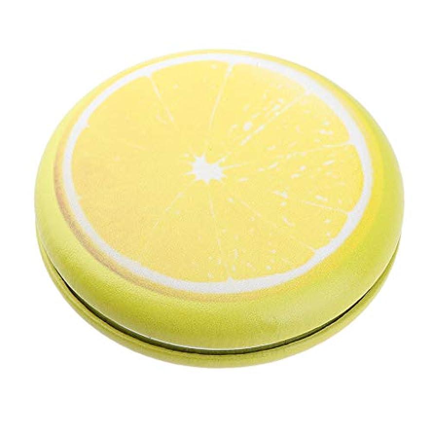 不毛幹重なる折りたたみ化粧鏡 携帯用 ポケットミラー 美容鏡 3仕様選べ - イエロー - レモン