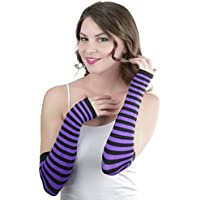 ToBeInStyle Women's Striped 100% Nylon Arm Length Warmers