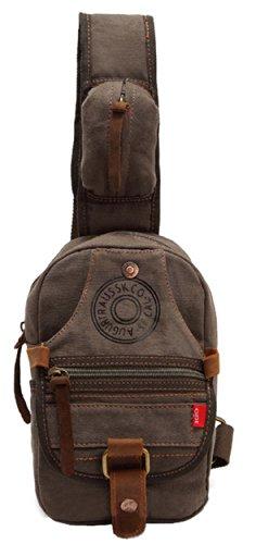 SAIERLONG メンズ レディース キャンバス チェストパック アウトドア 旅行バッグ リュックサック スリングバックパック