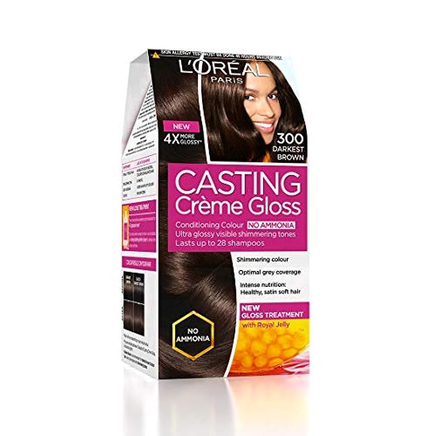 ベジタリアン偏差破壊するL'Oreal Paris Casting Creme Gloss Hair Color, Darkest Brown 300, 87.5g+72ml