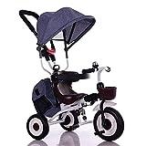YUMEIGE 子供用三輪車 子供三輪車折りたたみ式1〜6歳の誕生日プレゼント三輪車積載量25 Kg子供用ベビーカー幼児トライクオーニング付き(男の子/女の子) 得ることができます (色 : Linen blue)