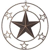 Rongxin 18.3インチ ヴィンテージ テキサス メタル サークルド スター 空洞 壁飾り レトロスタイル リビングルーム/オフィス/バー/レストランの装飾