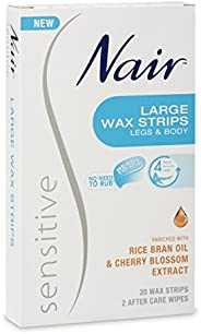 Nair Sensitive Large Hair Remover Wax Strips, Pack of 20