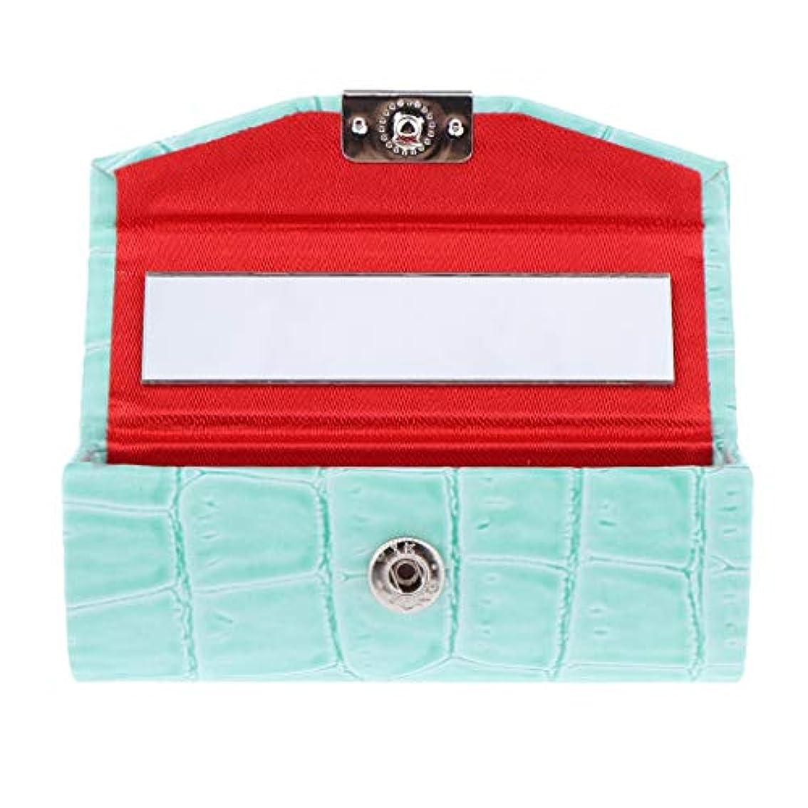 範囲追い出すラリーベルモントB Baosity 口紅ケース コインケース ミラー付き リップグロス ジュエリー 収納ボックス 多色選べ - ライトブルー