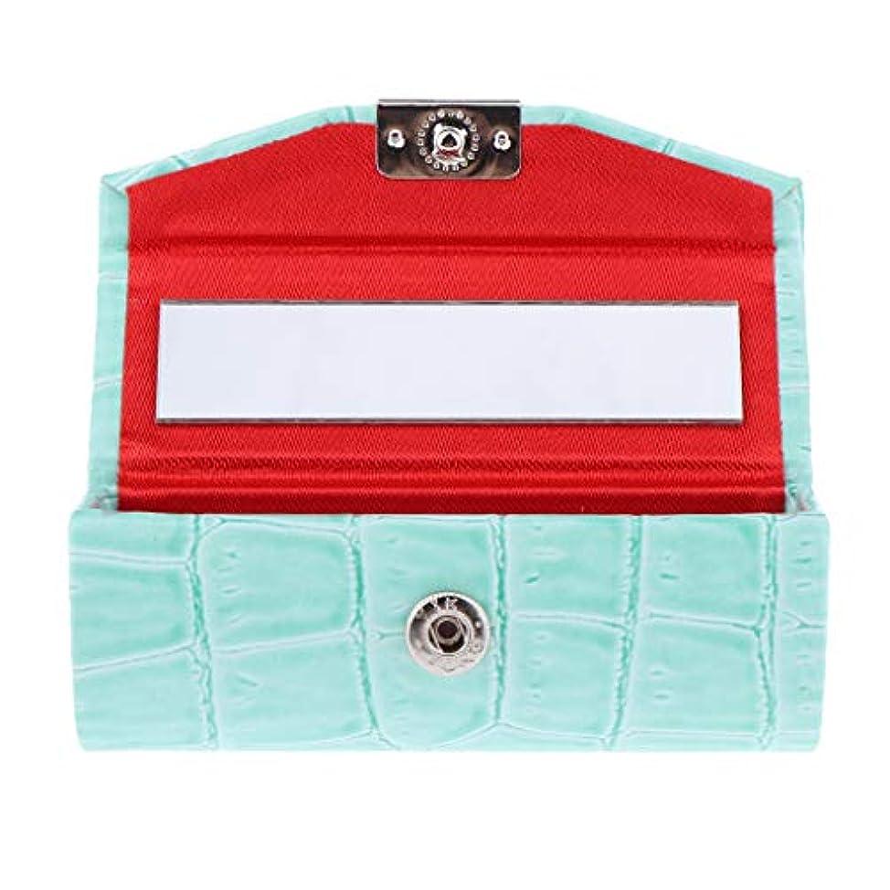 緩める肯定的おとうさんB Baosity 口紅ケース コインケース ミラー付き リップグロス ジュエリー 収納ボックス 多色選べ - ライトブルー