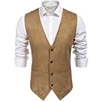 JINIDU Men's Sleeveless Denim Vest Casual Slim Fit Button Down Jeans Vests Jacket