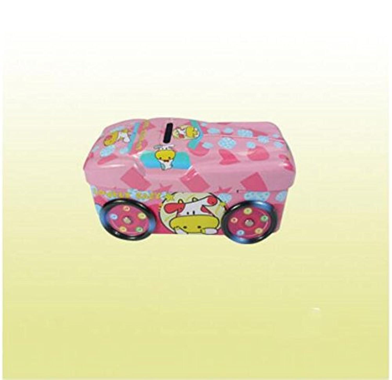 マネー バンク クラシックカーピギーバンク実用的な錫ストレージボックスロック付き(ピンク)