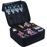 Samtour Travel Makeup Train Case Makeup Cosmetic Case Organizer Portable Artist Storage Bag Black