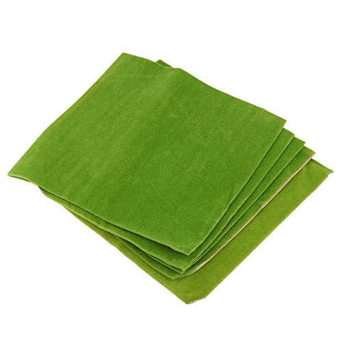 5個 クラフト紙 人工芝生モデル ミニチュア 芝生モデル レイアウト  - 緑