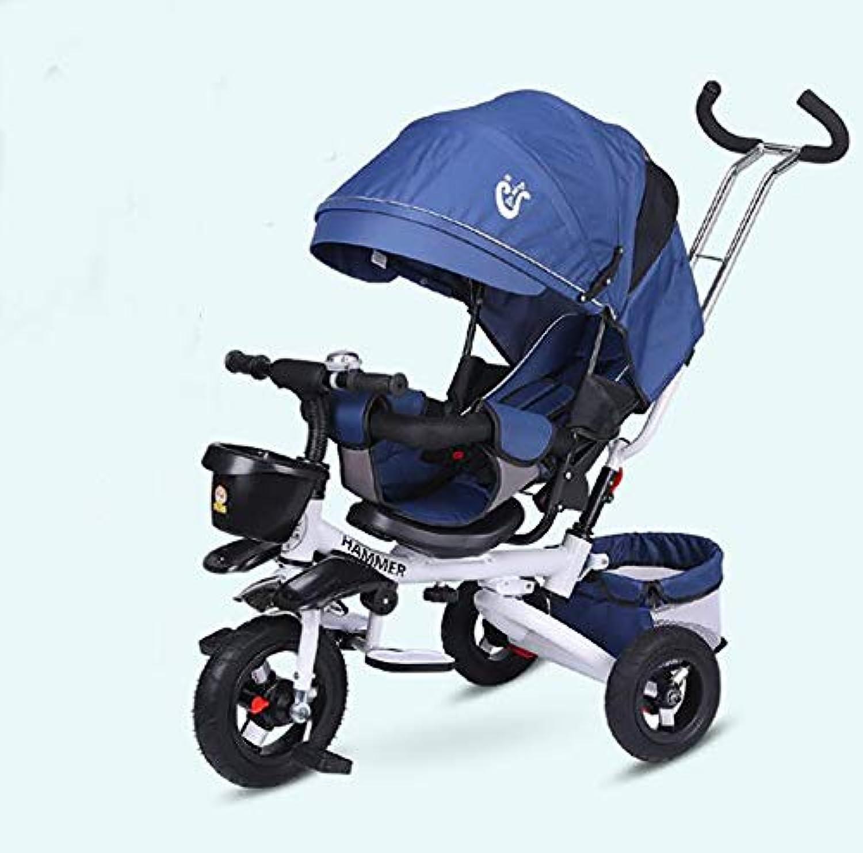 SSRS折りたたみリクライニング子供の三輪車のベビーカー自転車5点式シートベルト調節可能なハンドル回転式シート取り外し可能なサンルーフサイレントタイヤ1?6年
